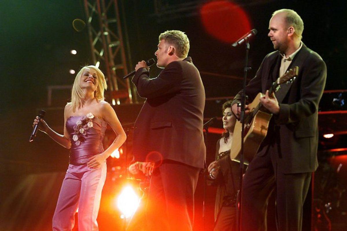 """Rollo & King vandt Dansk Melodi Grand Prix 2001 med """"Never ever let you go. Det var tæt på en sejr i Parken ved Eurovision Song Contest. Foto: CLAUS BJØRN LARSEN/Scanpix (Arkivfoto)"""