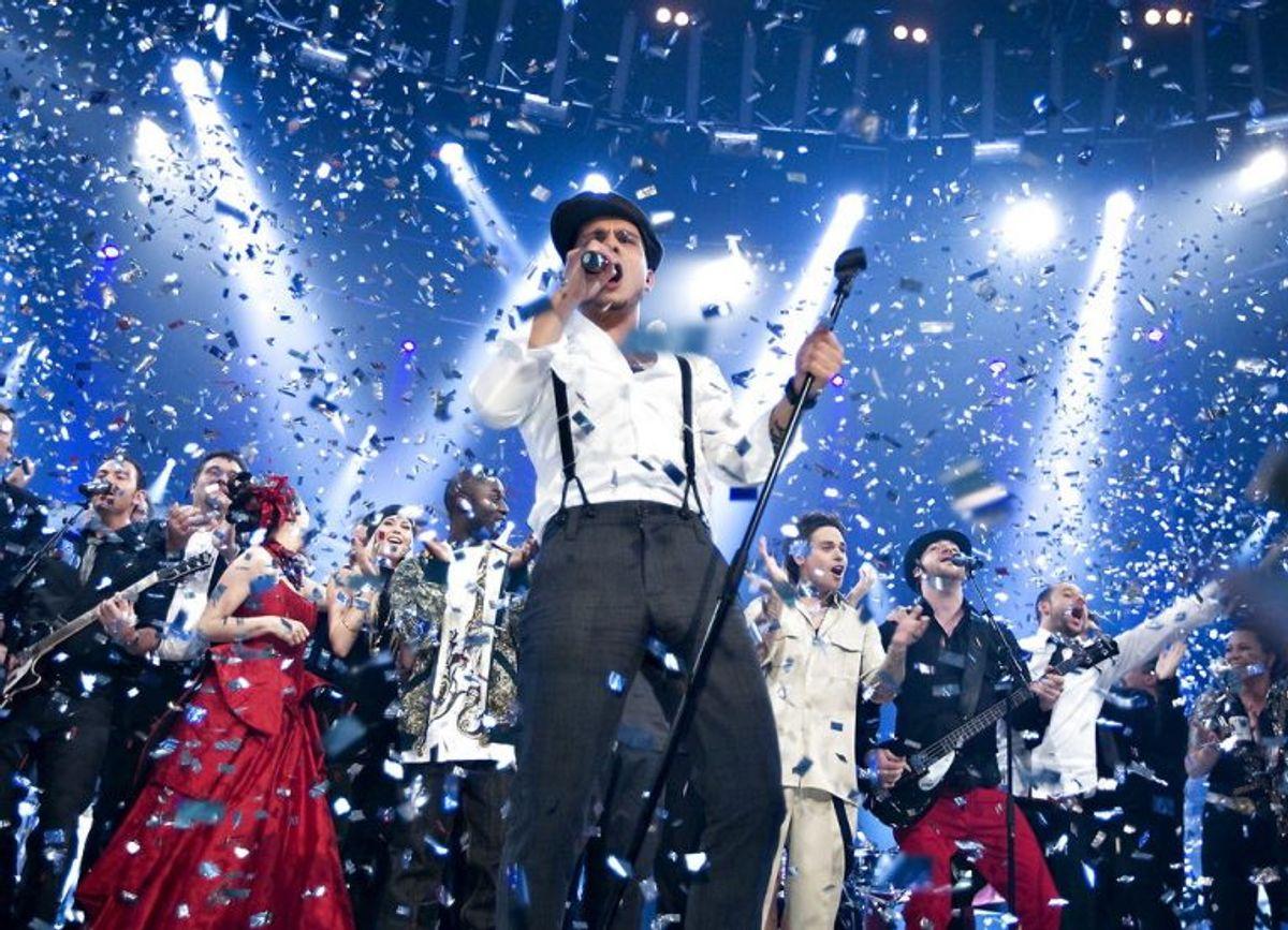 Vinder af Dansk Melodi Grand Prix 2008 blev sangen: All Night Long med Simon Mathew. Foto: Henning Bagger/Scanpix (Arkivfoto)
