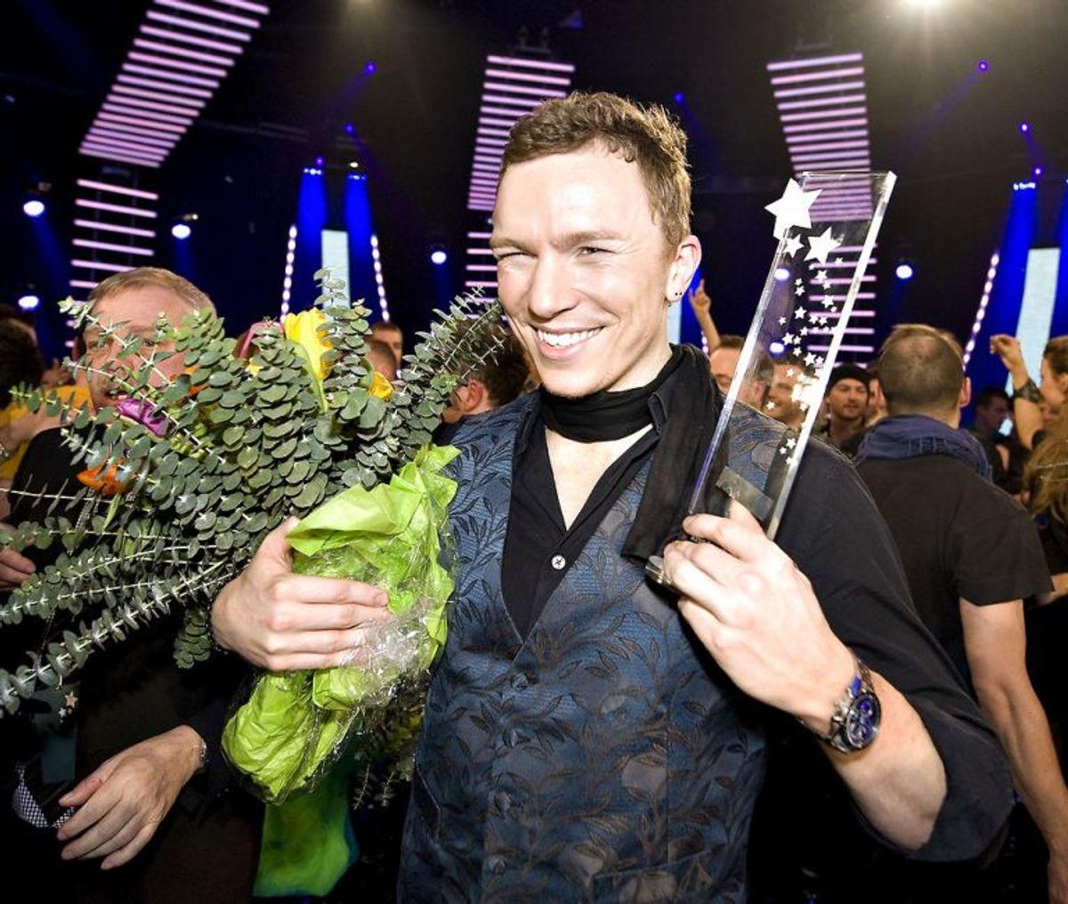 """Brinck vandt Dansk Melodi Grand Prix 2009 med sangen """"Believe Again"""". Foto: Henning Bagger/Scanpix (Arkivfoto)"""