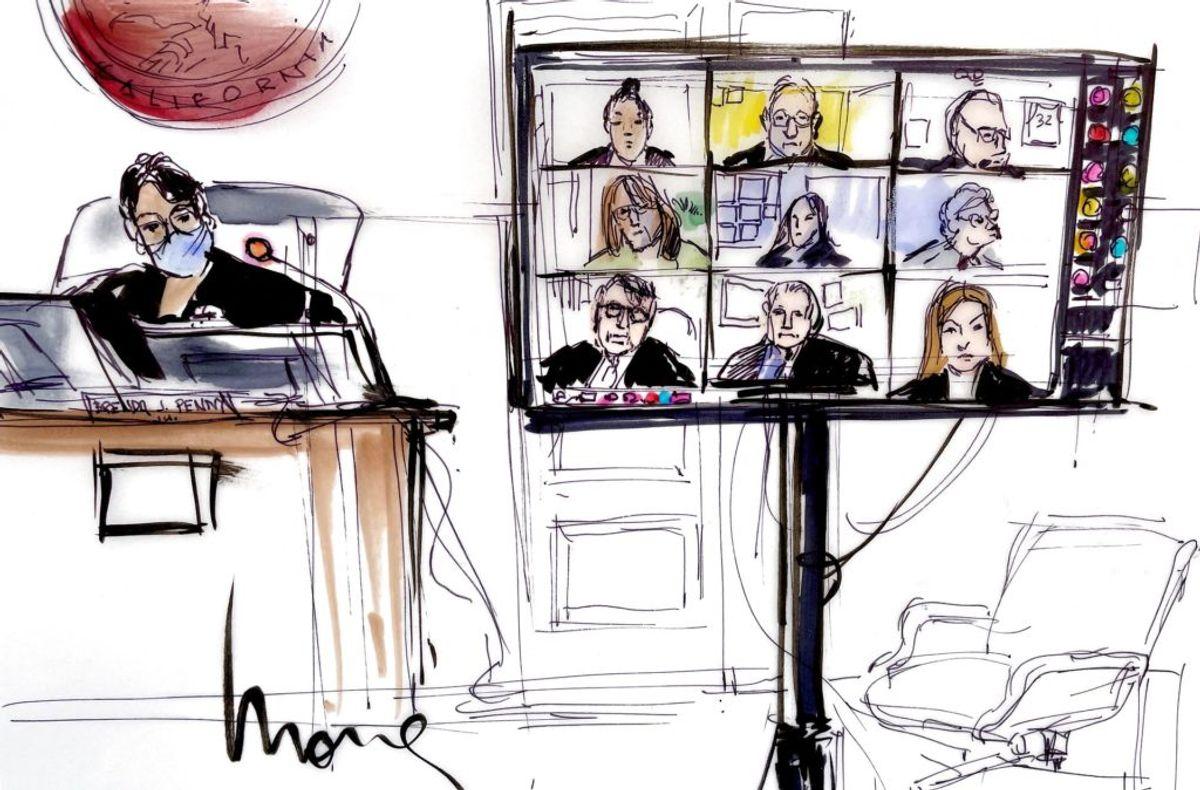 Britney Spears deltog i retsmødet via en videoforbindelse. Foto: Mona EDWARDS / AFP/Scanpix,