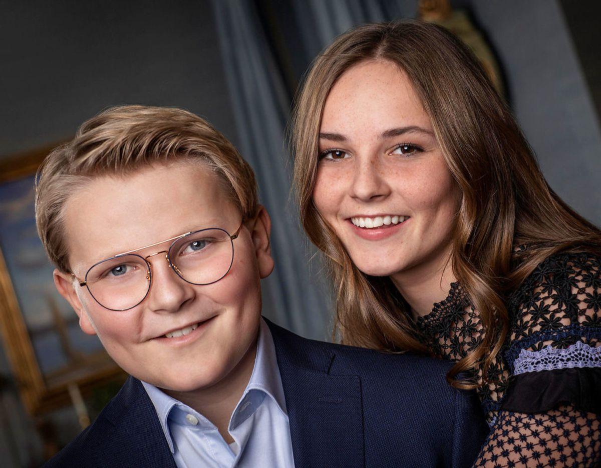 Prins Sverre Magnus ses her sammenmed sin to år ældre søster, prinsesse Ingrid Alexandra. Foto: Julia Naglestad/The Royal Court/NTB scanpix/via REUTERS
