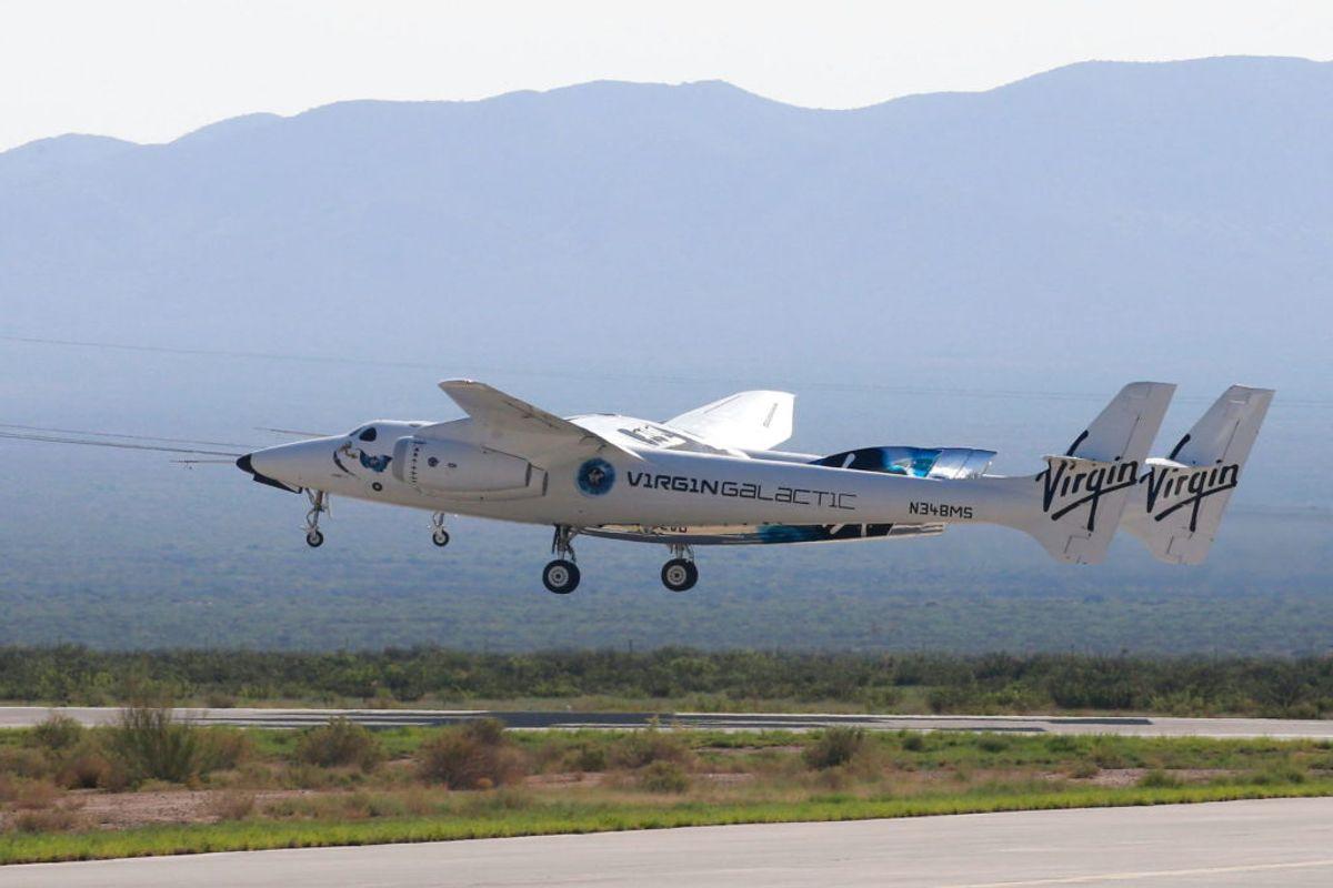 'Rumskibet' har et fly som hovedelement, hvorfra den noget mindre rumkapsel kan skydes afsted fra. Foto: REUTERS/Joe Skipper TPX IMAGES OF THE DAY/Scanpix