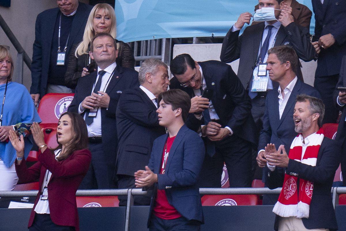 Sidst Mary, Frederik og Christian var at se var til EM-semifinalen på Wembley mod England. Foto: Liselotte Sabroe/Ritzau Scanpix