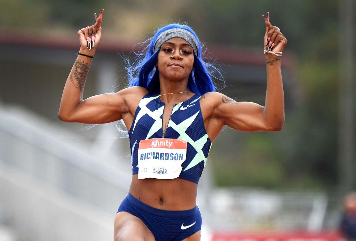 Sha'Carri Richardson var en af de helt store favoritter til at tage OL-guld i 100 meter-sprint for kvinder. Hun er særlig blevet kendt for sine farverige lokker, smykker, lange negle og tatoveringer. Foto: © Keith Birmingham/Orange County Register via ZUMA Wire / Ritzau Scanpix