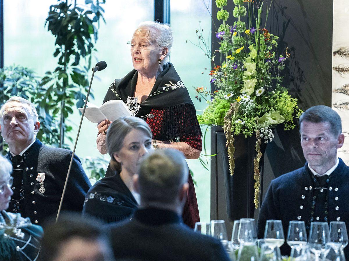 Dronningen holdt tale under festmiddagen i Thorshavn.
