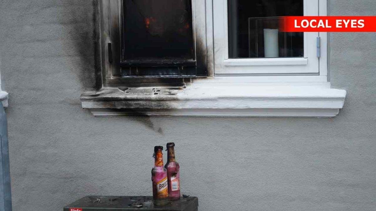 En formodet molotovcocktail blev kastet mod en restaurant i Kerteminde tidligt onsdag morgen. Foto: Local Eyes Foto: Local Eyes