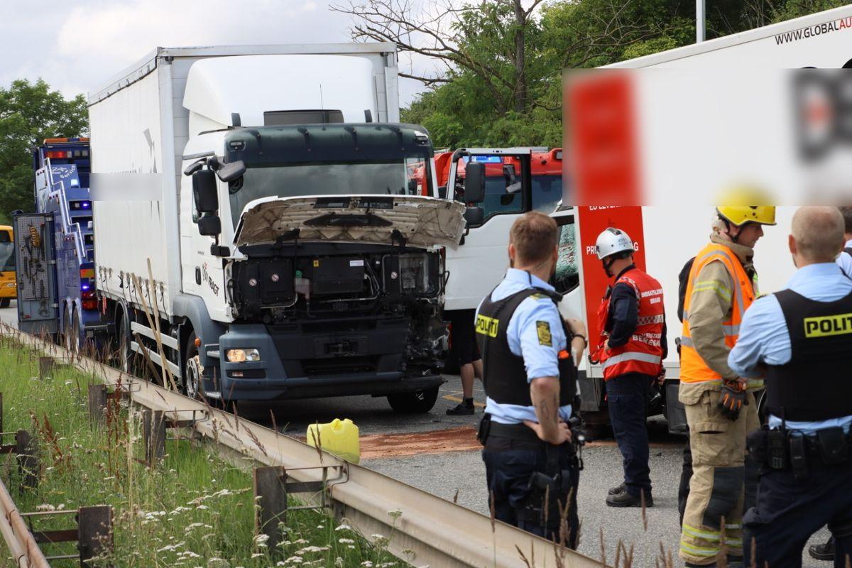 En lastbil og en varebil har været impliceret i et voldsomt sammenstød, som har skabt trafikale problemer på Nordre Ringvej i Glostrup. Foto: presse-fotos.dk