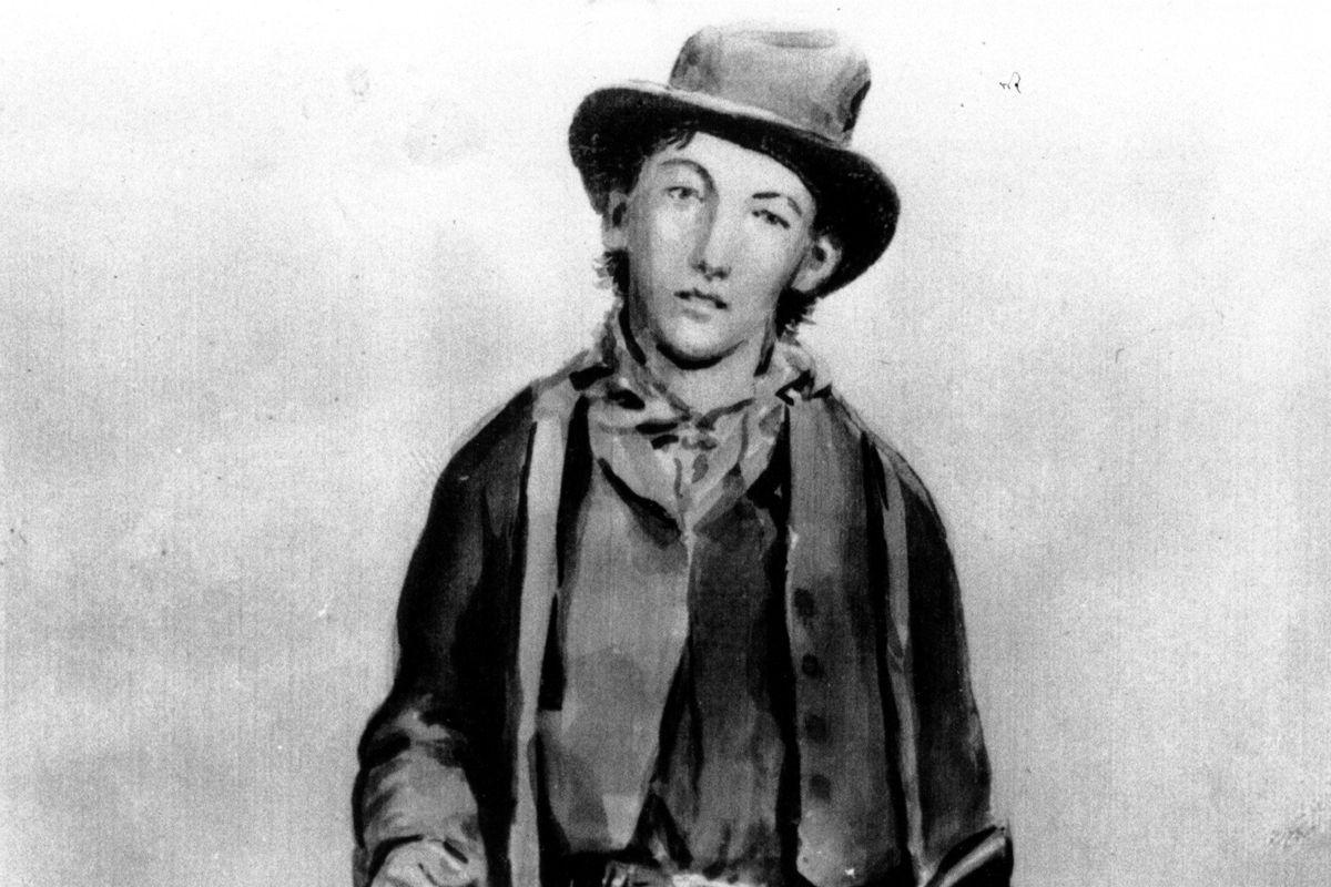 Billy the Kid var efterlyst for drab af otte mænd i to amerikanske delstater, da han i 1881 blev opsporet af sherif Pat Garrett på en ranch i New Mexico og dræbt. (udateret foto af maleri af Billy the Kid).