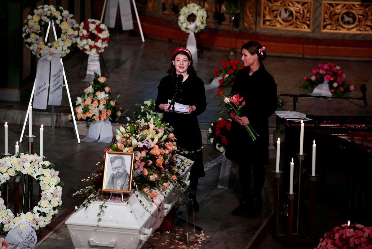 Maud Angelica Behn taler ved sin fars begravelse i Oslo domkirke den 3. januar 2020.