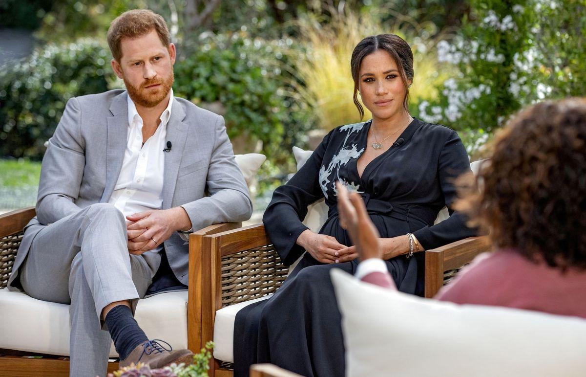 Billedet her er fra Harry og Meghans famøse Oprah Winfrey interview i marts måned.