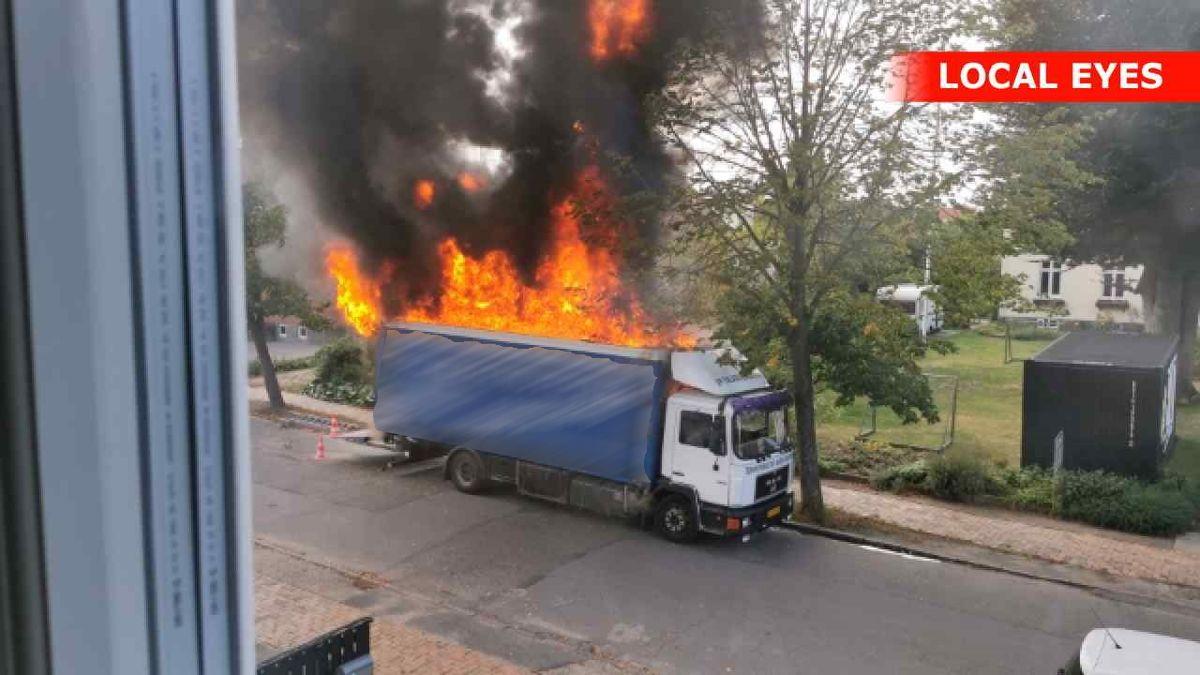 Det var et kompressoranlæg i lastbilen, der var årsag til branden