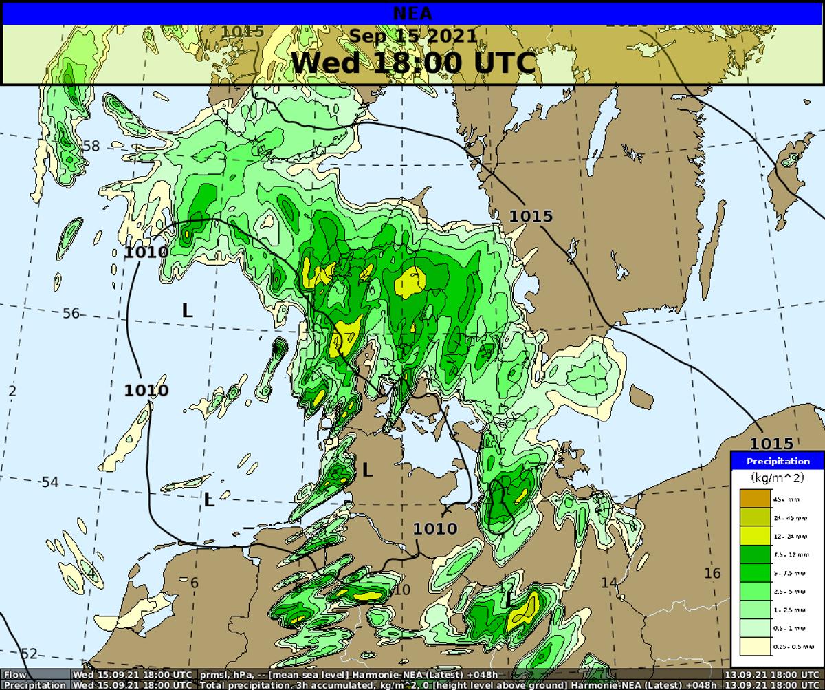 Onsdag aften ventes regn- og tordenbyger til store dele af landet.