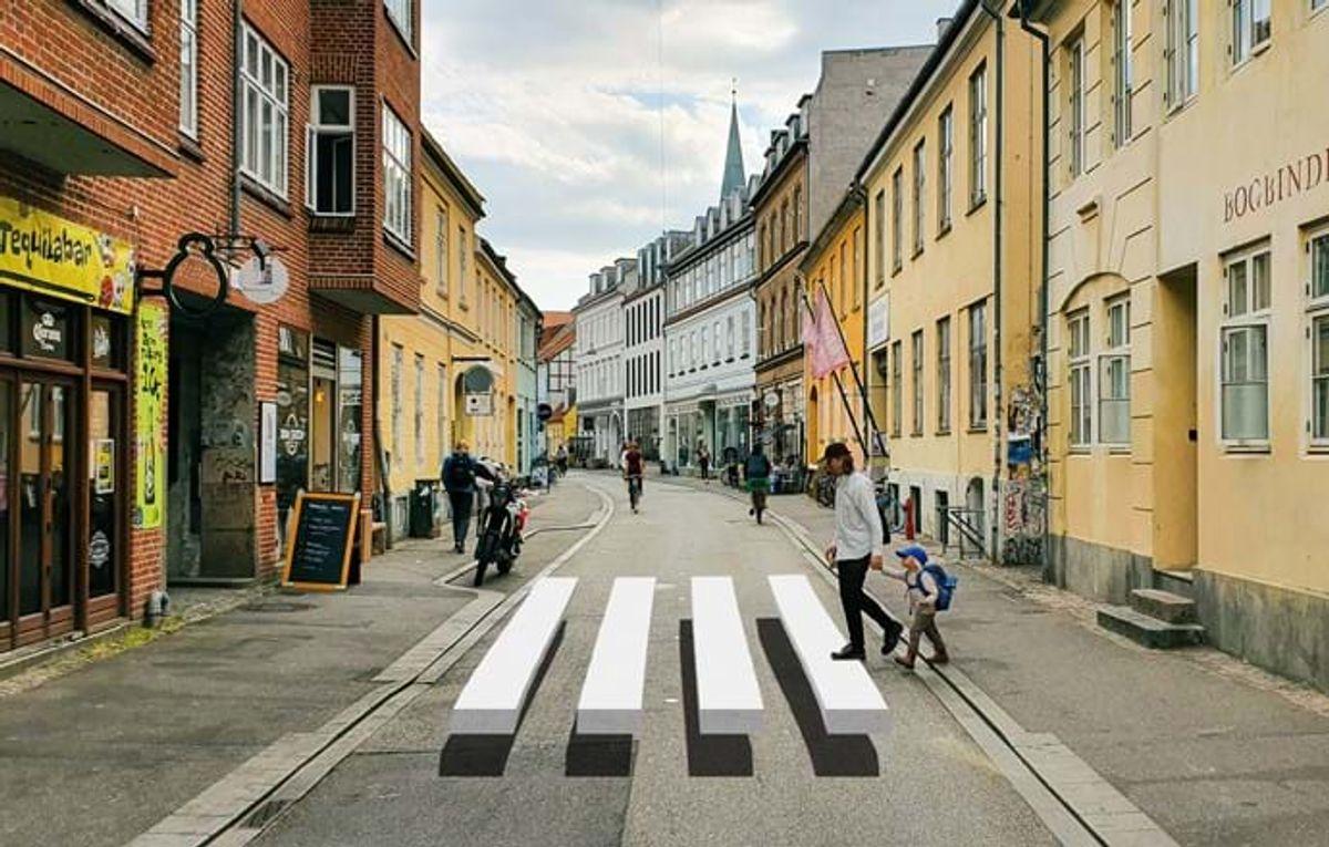 Sådan kommer det til at se ud i Mejlgade, når forsøget med 3D-fodgængerfelter søsættes.