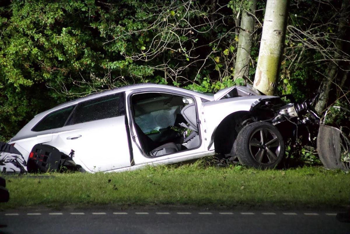 En bil med tre unge mænd bragede frontalt ind i et træ natten til torsdag.