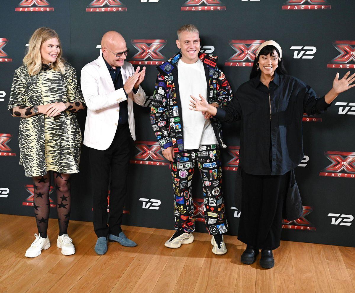 TV2 præsenterer det nye dommerhold til pressemøde på X Factor 2022, i København fredag den 24. september 2021.